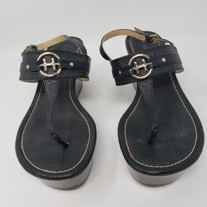 Tommy Hilfiger Shoes - Tommy Hilfiger womens wedge sandals w/ gold logo